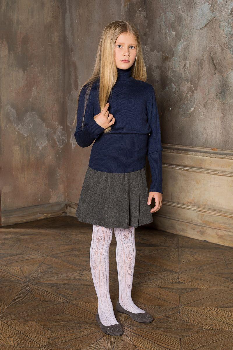 Водолазка для девочки Luminoso, цвет: темно-синий. 209. Размер 152209Вязаная водолазка для девочки Luminoso выполнена из мягкой пряжи с воротником-гольф и длинными рукавами.