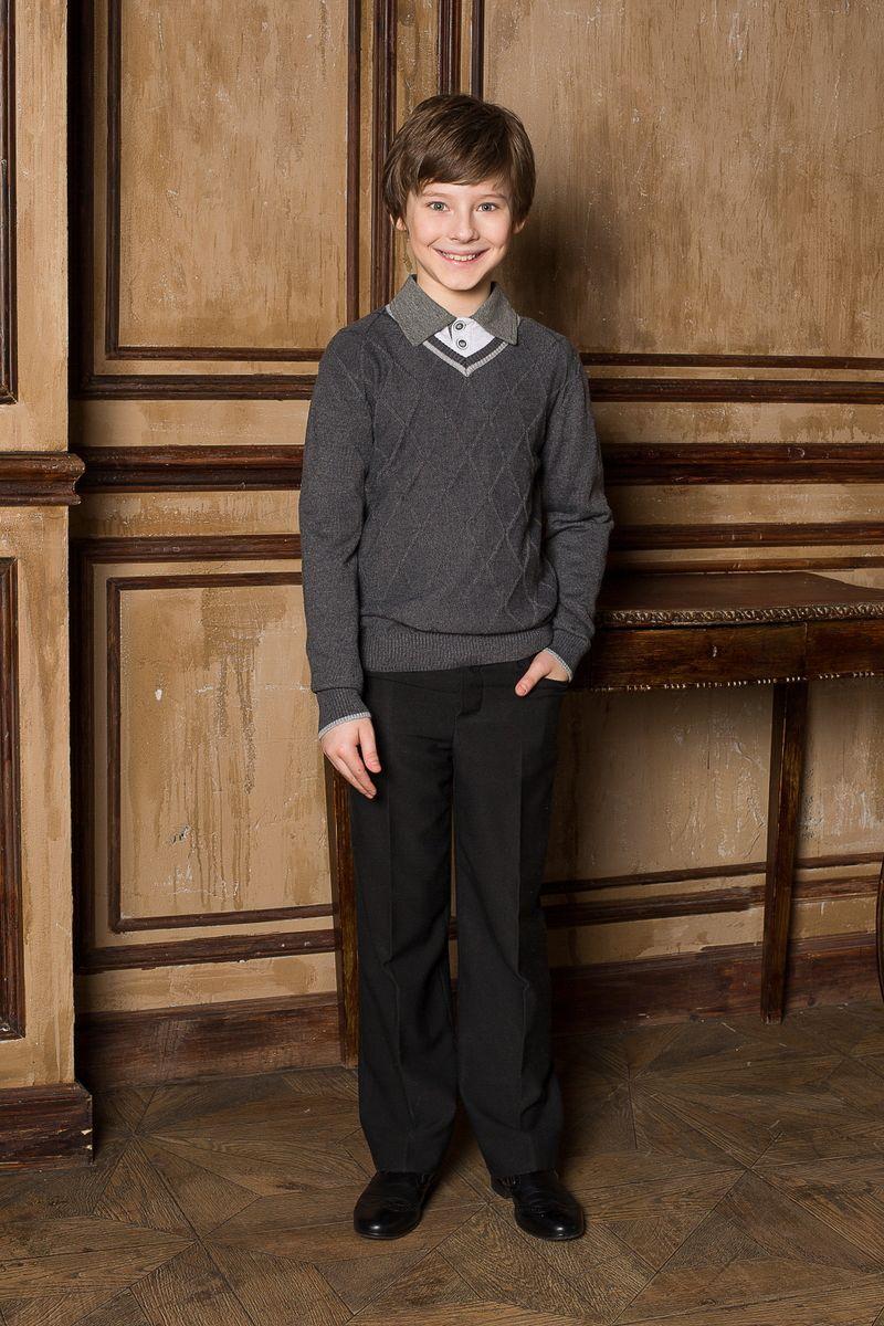 Пуловер для мальчика Luminoso, цвет: темно-серый меланж. 206613. Размер 152206613Стильный классический вязаный пуловер Luminoso с длинными рукавами и V-образным вырезом горловины. Манжеты и низ изделия связаны эластичной резинкой.