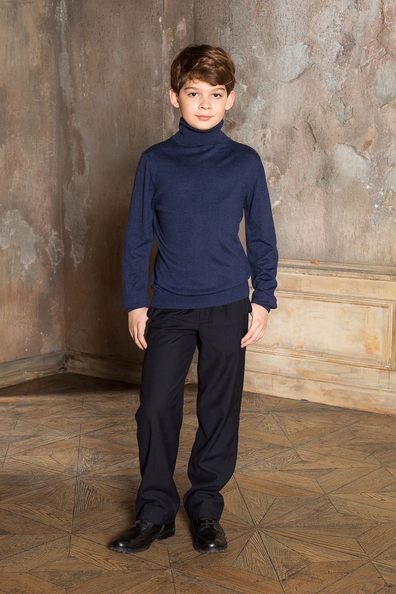 Водолазка для мальчика Luminoso, цвет: синий. 206615. Размер 164206615Вязаная классическая водолазка для мальчика Luminoso с воротником-гольф и длинными рукавами. Шерсть и кашемир в составе делают модель очень теплой, мягкой и комфортной.