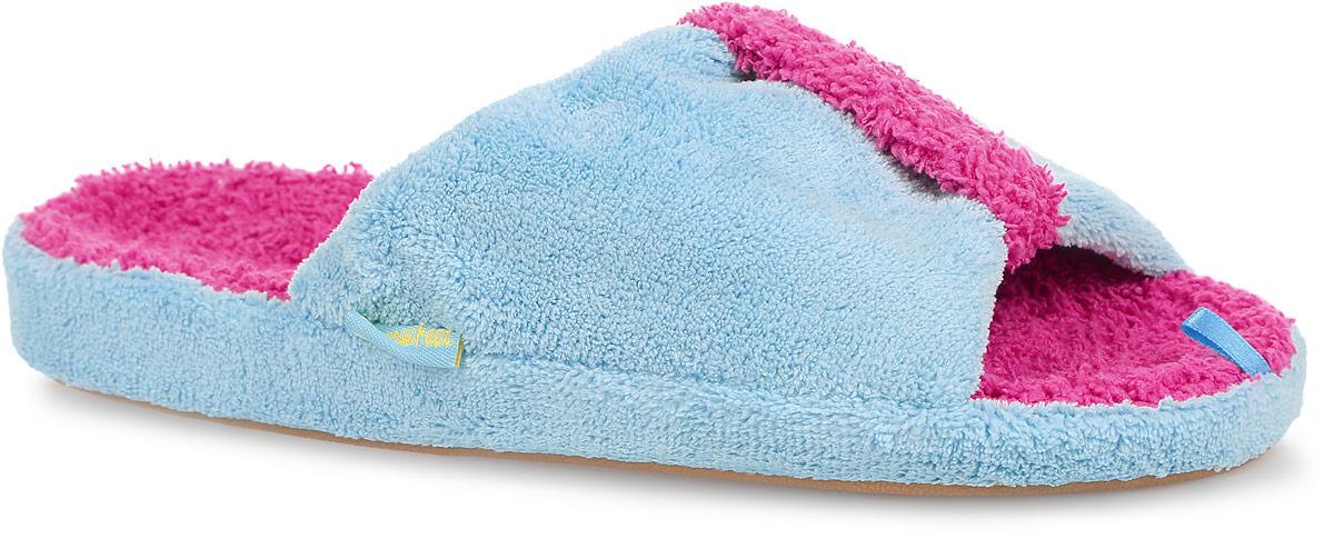 Тапки женские Dream Feet, цвет: голубой. SD-05. Размер 36SD-05_BLUEОчень комфортные женские тапки Dream Feet, выполненные из мягкого и приятного текстиля, помогут отдохнуть вашим ножкам после трудового дня.Прорезиненная подошва создаст дополнительный комфорт, не позволяя ноге скользить.