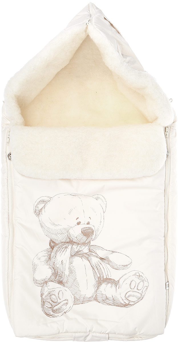 Конверт для новорожденного Сонный Гномик Микка, цвет: молочный. 987/10. Возраст 0/9 месяцев987/10Зимний конверт для новорожденного Сонный Гномик Микка порадует даже самых требовательных мам и согреет малыша в холодную погоду. Конверт изготовлен из специальной синтетической ткани Dewspo (100% полиэстер), которая защищает от дождя и ветра. Меховая подкладка выполнена из шерсти с добавлением полиэстера. В качестве утеплителя используется шелтер (100% полиэстер).Шелтер (Shelter) - утеплитель, состоящий из микроволокон, удачно сочетает непревзойденное тепло натурального пуха и лучшие качества синтетических материалов. Его уникальность состоит в особенности структуры, повторяющей пух. Ультратонкие волокна делают утеплитель мягким, позволяющим ребенку активно двигаться. Утеплитель шелтер максимально защищает от холода, не стесняя движений, позволяя телу дышать. Конверт легко стирается в домашних условиях, быстро сохнет и сохраняет форму.Конструкция модели снабжена двумя удобными застежками-молниями. Она раскладывается на два отдельных меховых коврика. Верхняя часть конверта может использоваться в качестве капюшона в ветреную или холодную погоду. С помощью застежки-молнии она принимает вид треугольника. А также верхняя часть может надеваться на спинку санок или коляски, благодаря эластичным ремешкам со вставкой. Спереди предусмотрен отворот, фиксирующийся с помощью декоративных стопперов. Оформлено изделие принтом с изображением медвежонка. Конверт заменит лишние теплые кофточки и штанишки, и, значит, свободу малыша ничто не будет ограничивать. Теплый, комфортный, удобный и практичный конверт идеально подойдет для прогулок на свежем воздухе!