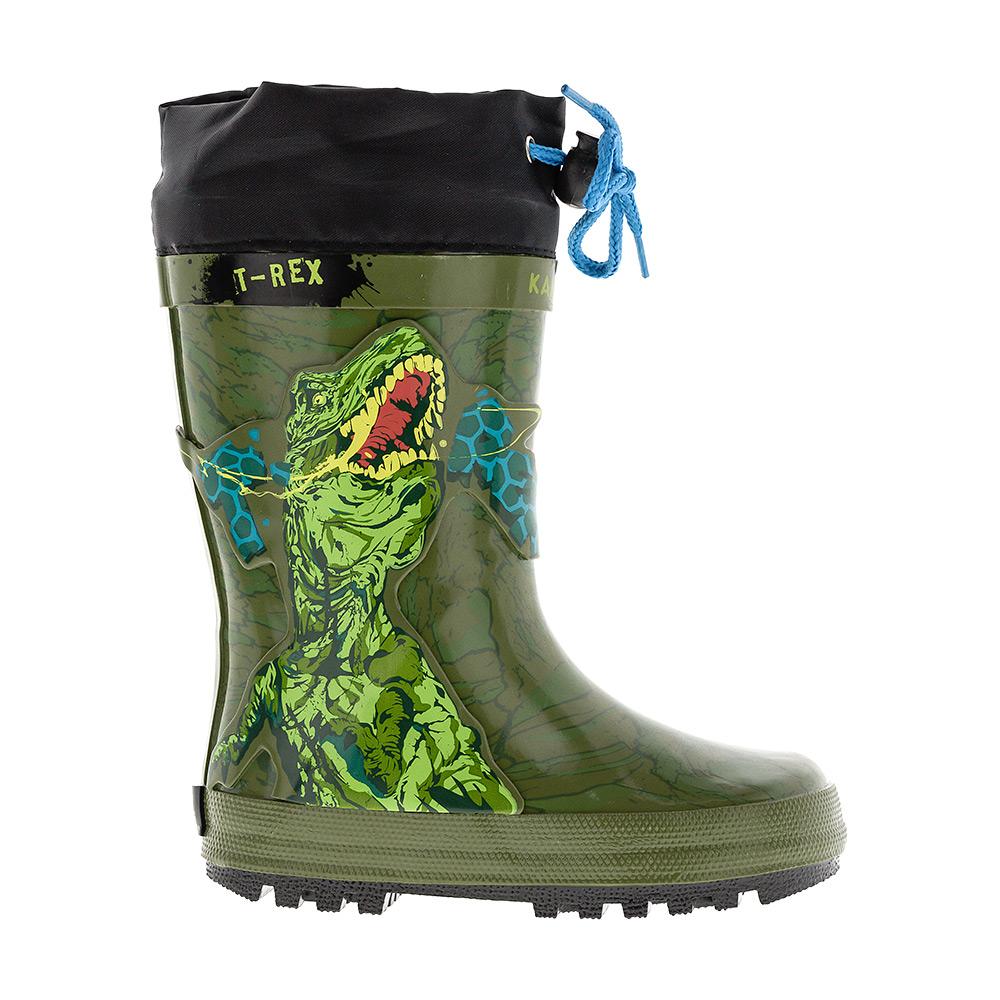 Сапоги резиновые для мальчика Kakadu Animal Planet, цвет: зеленый. 6065A. Размер 256065AРезиновые сапоги Animal Planet от Kakadu превосходно защитят ноги вашего ребенка от промокания в дождливый день. Сапоги выполнены из резины и оформлены изображением динозавра. Текстильный верх голенища регулируется в объеме за счет шнурка со стоппером.Рельефная поверхность подошвы гарантирует отличное сцепление с любой поверхностью.Яркая и комфортная обувь с изображениями любимых персонажей порадует маленьких непосед.