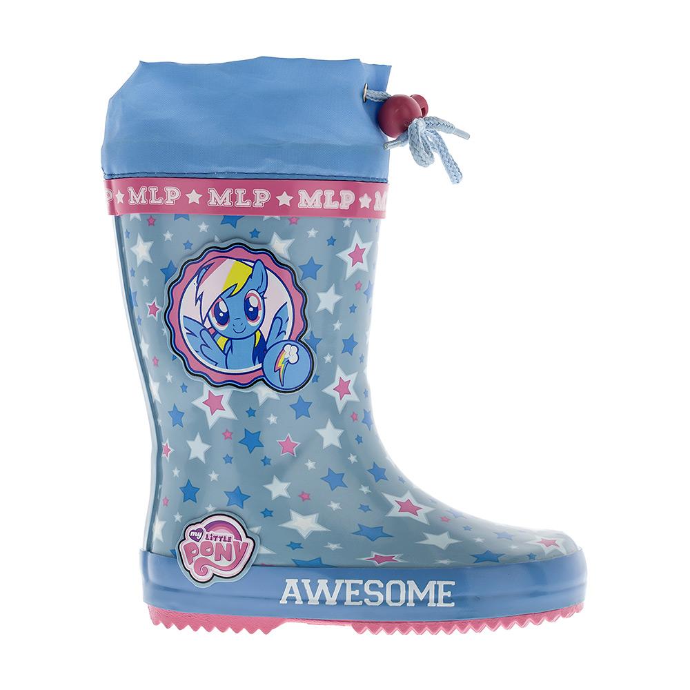 Сапоги резиновые для девочки Kakadu My Little Pony, цвет: голубой. 6068C. Размер 246068CРезиновые сапоги My Little Pony от Kakadu превосходно защитят ноги вашей девочки от промокания в дождливый день. Сапоги выполнены из резины и оформлены изображением лошадки и звездочек. Текстильный верх голенища регулируется в объеме за счет шнурка со стоппером.Рельефная поверхность подошвы гарантирует отличное сцепление с любой поверхностью.Яркая и комфортная обувь с изображениямилюбимых персонажей порадует юных поклонниц My Little Pony.