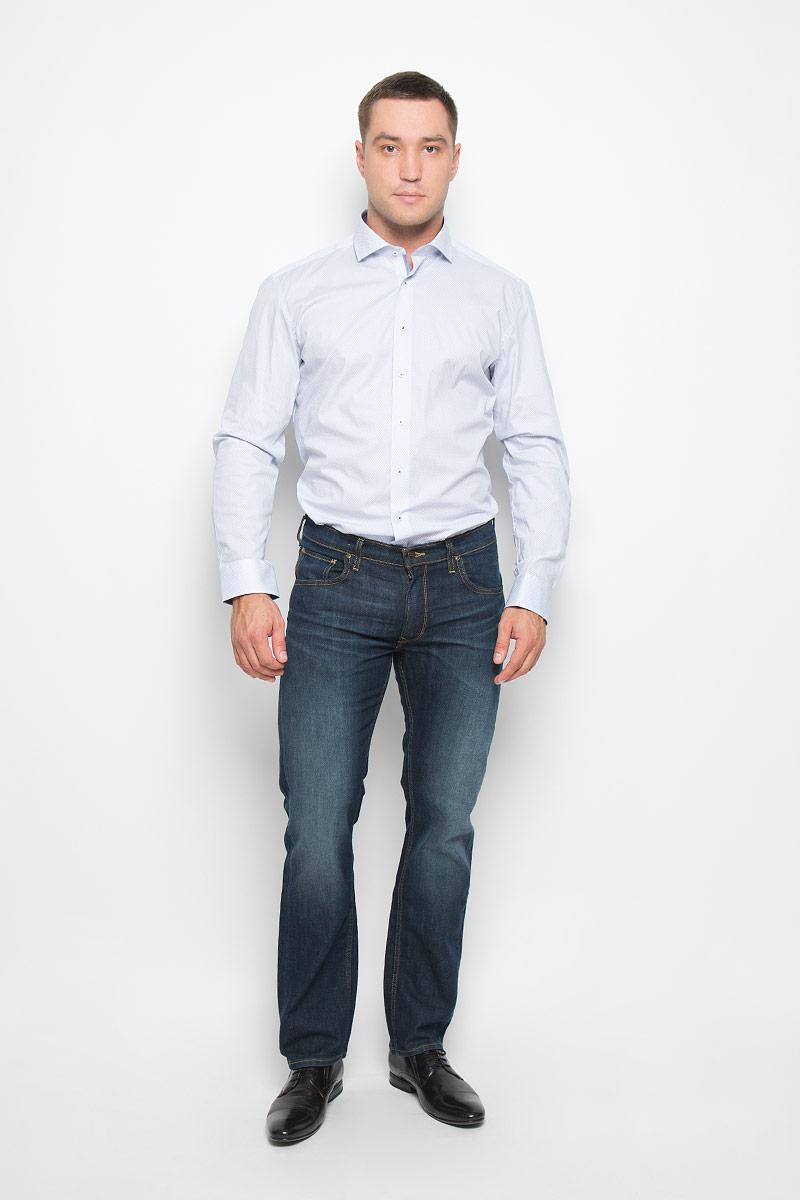 Рубашка мужская Eterna, цвет: белый, голубой. 8293_11_F142_37-44. Размер 408293_11_F142_37-44Стильная мужская рубашка Eterna, выполненная из эластичного хлопка подчеркнет ваш уникальный стиль и поможет создать оригинальный образ. Такой материал великолепно пропускает воздух, обеспечивая необходимую вентиляцию, а также обладает высокой гигроскопичностью. Рубашка с длинными рукавами и отложным воротником застегивается на пуговицы спереди. Манжеты рукавов также застегиваются на пуговицы. Рубашка оформлена принтом в мелкий ромб. Классическая рубашка - превосходный вариант для базового мужского гардероба и отличное решение на каждый день.Такая рубашка будет дарить вам комфорт в течение всего дня и послужит замечательным дополнением к вашему гардеробу.