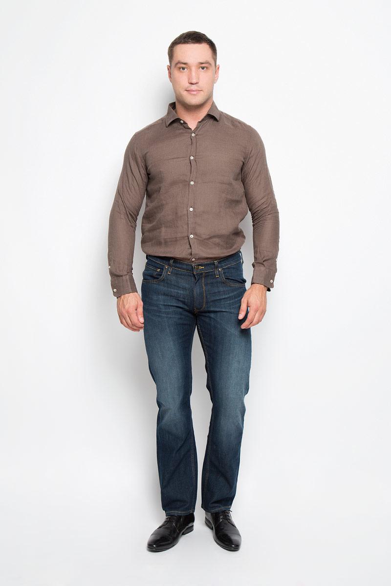 Рубашка мужская And Camicie, цвет: коричневый. 136T621S_9589. Размер XXL (56)136T621S_9589Мужская рубашка And Camicie выполнена из льна. Материал изделия легкий, тактильно приятный, не сковывает движения и хорошо пропускает воздух. Рубашка с отложным воротником и длинными рукавами застегивается спереди на пуговицы по всей длине. На манжетах также предусмотрены застежки-пуговицы.Такая рубашка будет дарить вам комфорт в течение всего дня и станет стильным дополнением к вашему гардеробу.