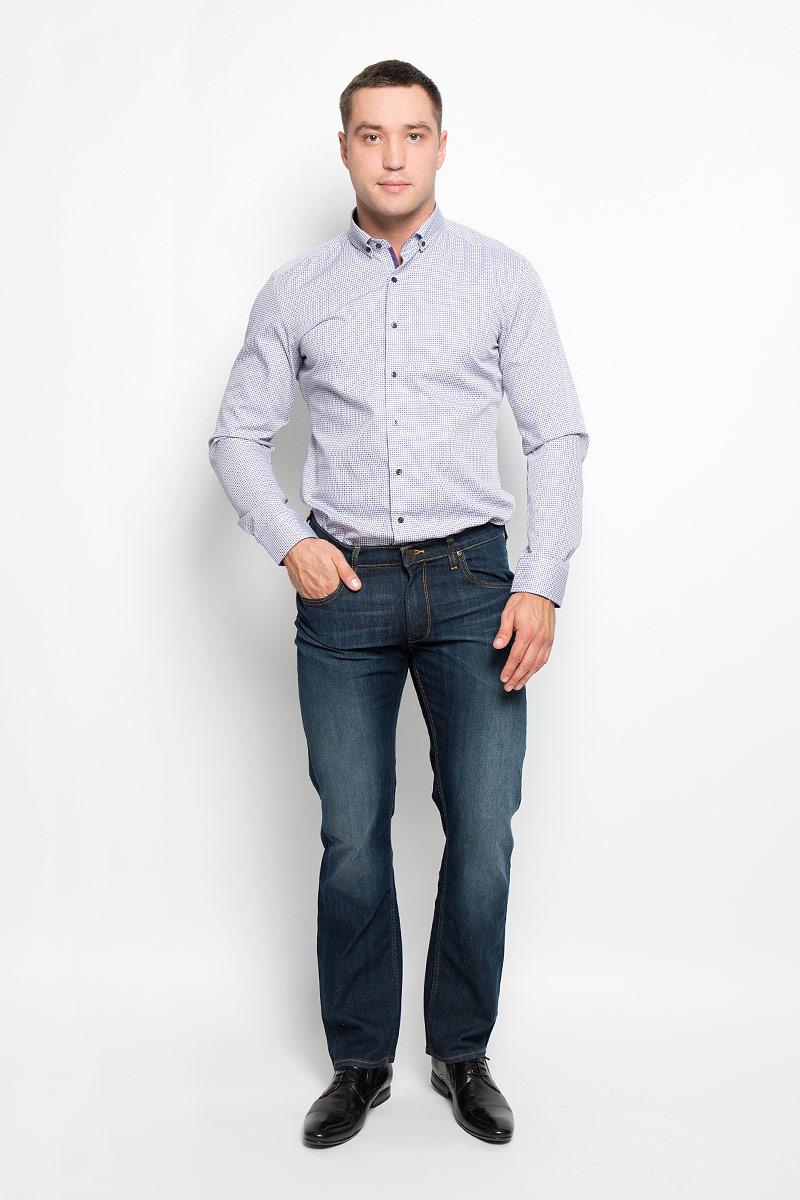 Рубашка мужская Eterna, цвет: белый, фиолетовый. 4187_93_F14C_37-44. Размер 424187_93_F14C_37-44Стильная мужская рубашка Eterna, выполненная из натурального хлопка подчеркнет ваш уникальный стиль и поможет создать оригинальный образ. Такой материал великолепно пропускает воздух, обеспечивая необходимую вентиляцию, а также обладает высокой гигроскопичностью. Рубашка с длинными рукавами и отложным воротником застегивается на пуговицы спереди. Манжеты рукавов также застегиваются на пуговицы. Изделие украшено принтом в мелкую клетку. Классическая рубашка - превосходный вариант для базового мужского гардероба и отличное решение на каждый день.Такая рубашка будет дарить вам комфорт в течение всего дня и послужит замечательным дополнением к вашему гардеробу.