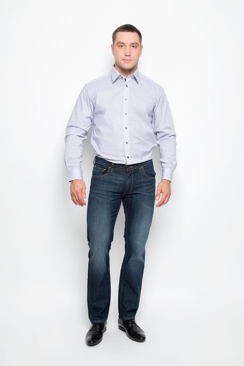 Рубашка мужская Eterna, цвет: белый, темно-синий. 8293_19_X198_38-46. Размер 408293_19_X198_38-46Стильная мужская рубашка Eterna, выполненная из эластичного хлопка подчеркнет ваш уникальный стиль и поможет создать оригинальный образ. Такой материал великолепно пропускает воздух, обеспечивая необходимую вентиляцию, а также обладает высокой гигроскопичностью. Рубашка с длинными рукавами и отложным воротником застегивается на пуговицы спереди. Манжеты рукавов также застегиваются на пуговицы. Рубашка оформлена принтом в мелкий ромб. Классическая рубашка - превосходный вариант для базового мужского гардероба и отличное решение на каждый день.Такая рубашка будет дарить вам комфорт в течение всего дня и послужит замечательным дополнением к вашему гардеробу.