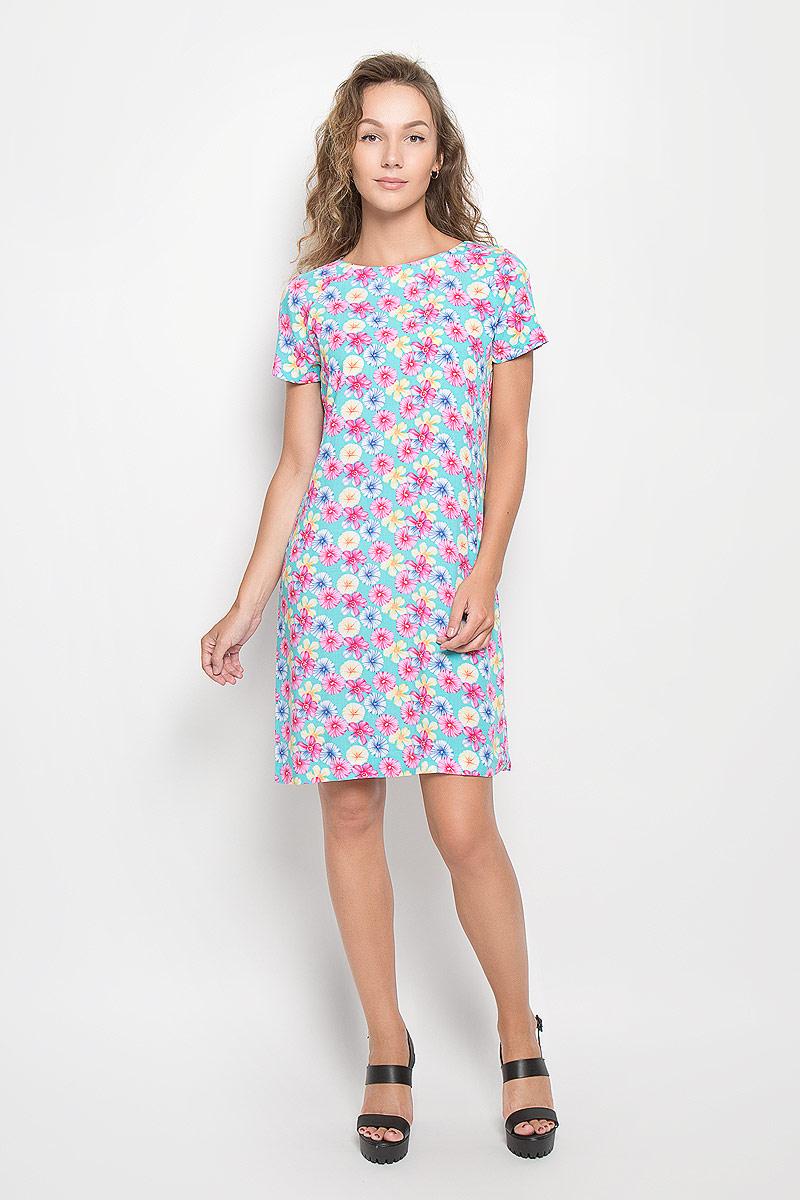Платье F5 Rayon, цвет: бирюзовый, розовый. 160266_13838. Размер S (44)160266_13838Элегантное платье F5 выполнено из высококачественной вискозы. Такое платье обеспечит вам комфорт и удобство при носке и непременно вызовет восхищение у окружающих.Модель средней длины с короткими рукавами-реглан и круглым вырезом горловины выгодно подчеркнет все достоинства вашей фигуры. Изделие оформлено оригинальным цветочным принтом. Изысканное платье-миди создаст обворожительный и неповторимый образ.Это модное и комфортное платье станет превосходным дополнением к вашему гардеробу, оно подарит вам удобство и поможет подчеркнуть ваш вкус и неповторимый стиль.