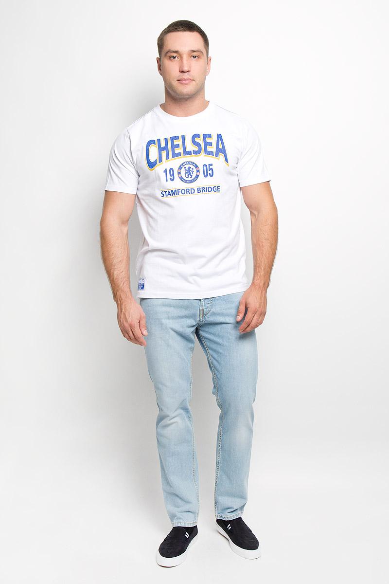 Футболка мужская Chelsea, цвет: белый. 8730. Размер M (48)8730Стильная мужская футболка Chelsea, выполненная из высококачественного мягкого хлопка, обладает высокой теплопроводностью, воздухопроницаемостью и гигроскопичностью, позволяет коже дышать. Модель с короткими рукавами и круглым вырезом горловины оформлена термоаппликацией в виде эмблемы футбольного клуба, а также надписью Chelsea 1905 Stamford Bridge с эффектом потрескавшейся краски. Горловина дополнена трикотажной эластичной резинкой. В такой футболке вы будете чувствовать себя уверенно и комфортно.