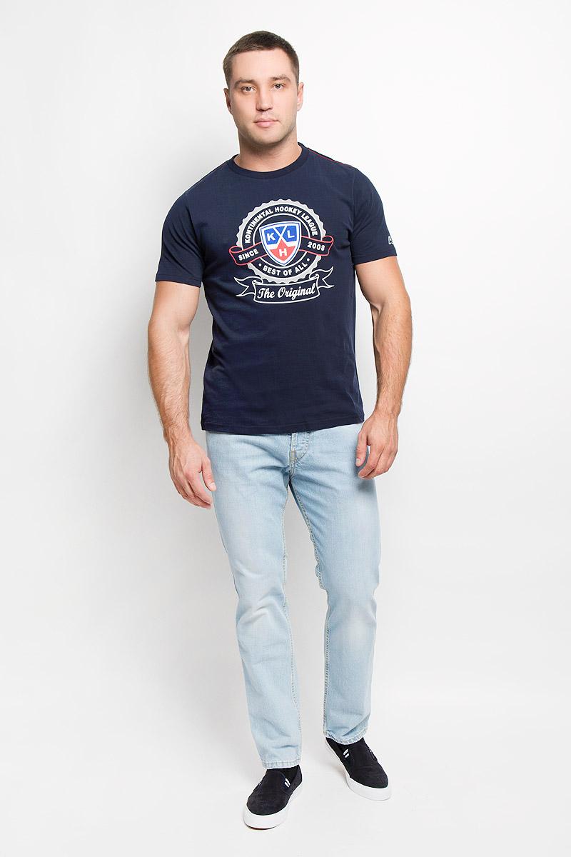 Футболка мужская КХЛ, цвет: темно-синий. 26800. Размер XS (46)26800Мужская футболка КХЛ, выполненная из натурального хлопка, порадует поклонника хоккея. Материал очень мягкий и приятный на ощупь, не сковывает движения и позволяет коже дышать. Футболка с короткими рукавами имеет круглый вырез горловины, дополненный трикотажной резинкой. Изделие оформлено термоаппликацией с эффектом потрескавшейся краски в виде логотипа Континентальной хоккейной лиги и надписей.Такая модель отлично подойдет для повседневной носки, а также подарит вам комфорт в течение всего дня!