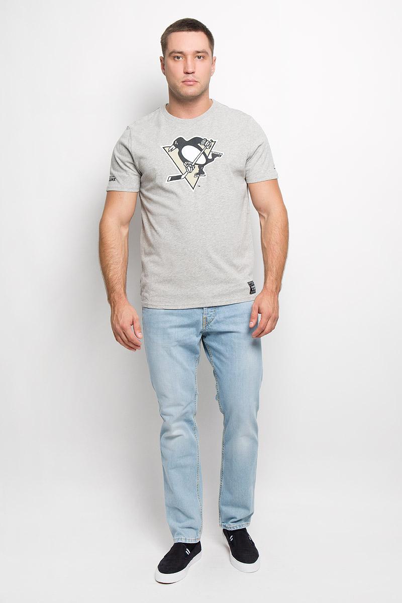Футболка мужская NHL Pittsburgh Penguins, цвет: серый меланж. 29950. Размер XS (44)