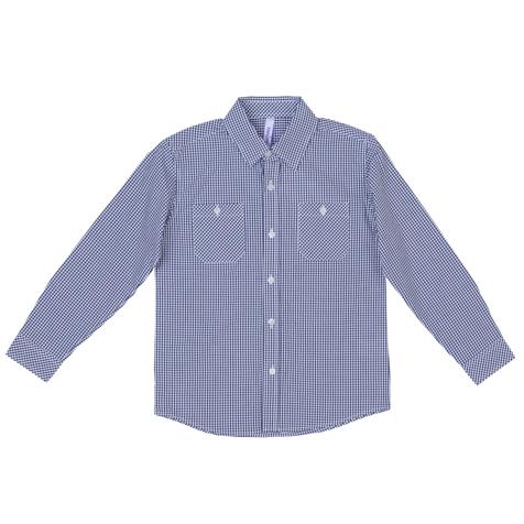 Рубашка для мальчика PlayToday, цвет: белый, темно-синий. 361064. Размер 98361064Стильная сорочка для мальчика изготовлена из натурального хлопка в мелкую клетку и дополнена двумя накладными карманами на полочке. Классическая модель с отложным воротником и длинными рукавами застегивается на прозрачные пуговицы. На манжетах также имеется по две пуговки.