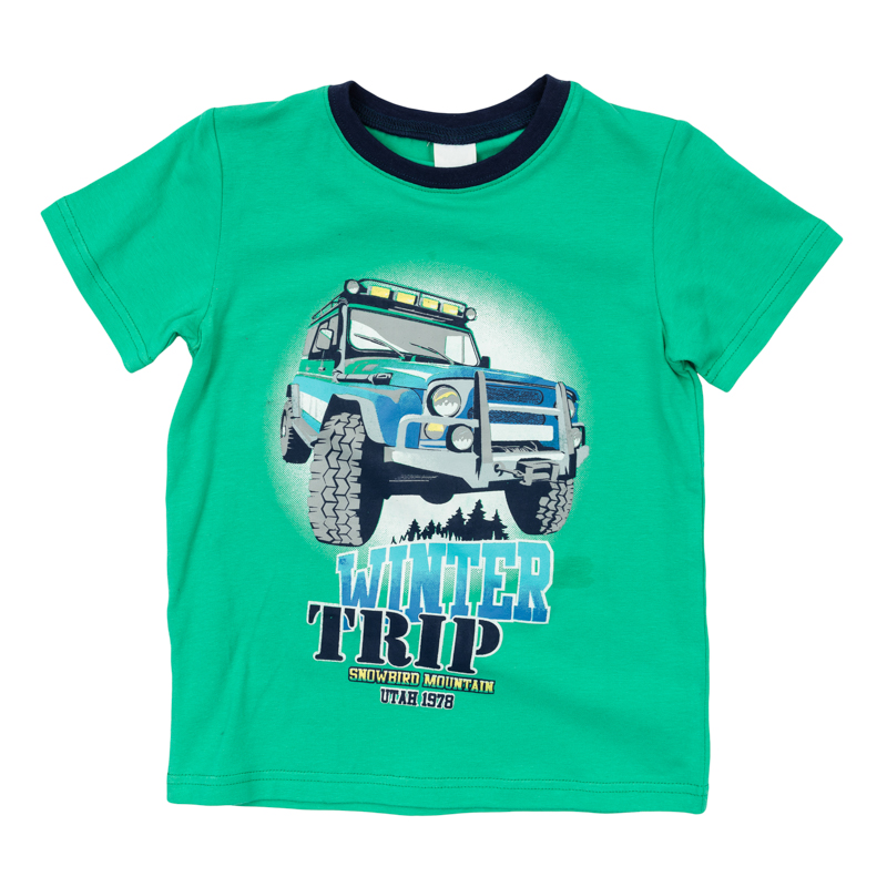 Футболка для мальчика PlayToday, цвет: зеленый. 361168. Размер 110361168Уютная футболка для мальчика выполнена из органического хлопка и оформлена стильным резиновым принтом. Воротник дополнен мягкой трикотажной резинкой.Яркий цвет модели позволяет создавать стильные образы.