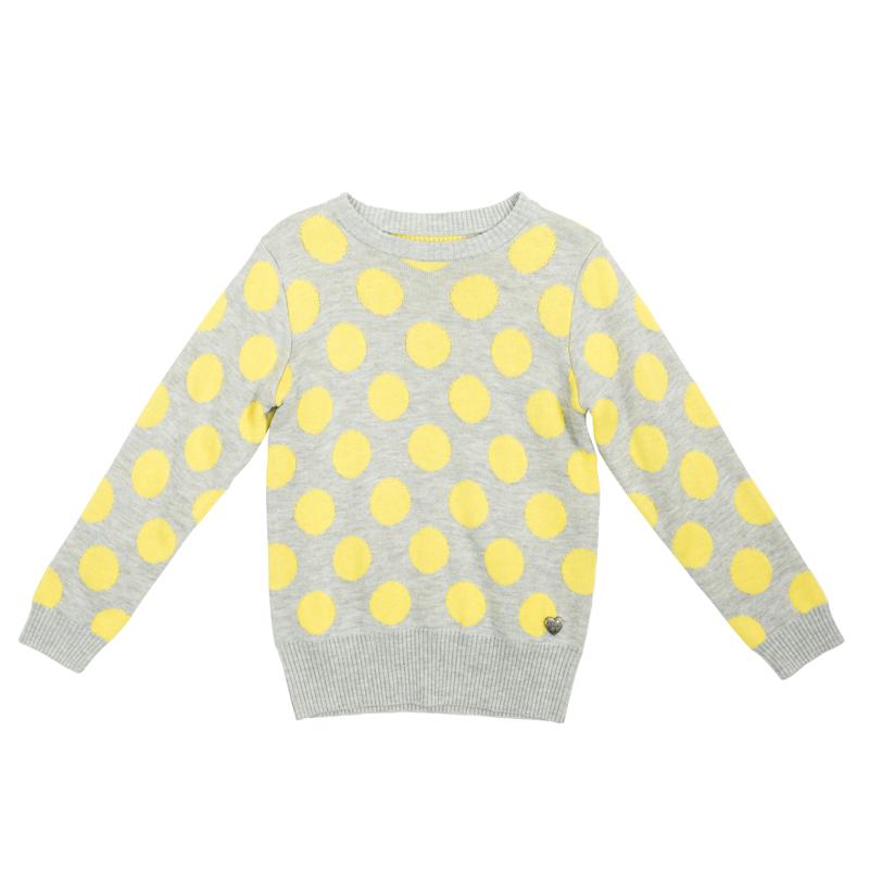 Джемпер для девочки PlayToday, цвет: серый меланж, желтый. 362156. Размер 104362156Уютный джемпер для девочки выполнен из трикотажа мелкой вязки.Универсальный цвет с узором в крупный контрастный горох позволяет сочетать модель с любой одеждой. Воротник, рукава и низ изделия выполнены из широкой вязаной резинки.