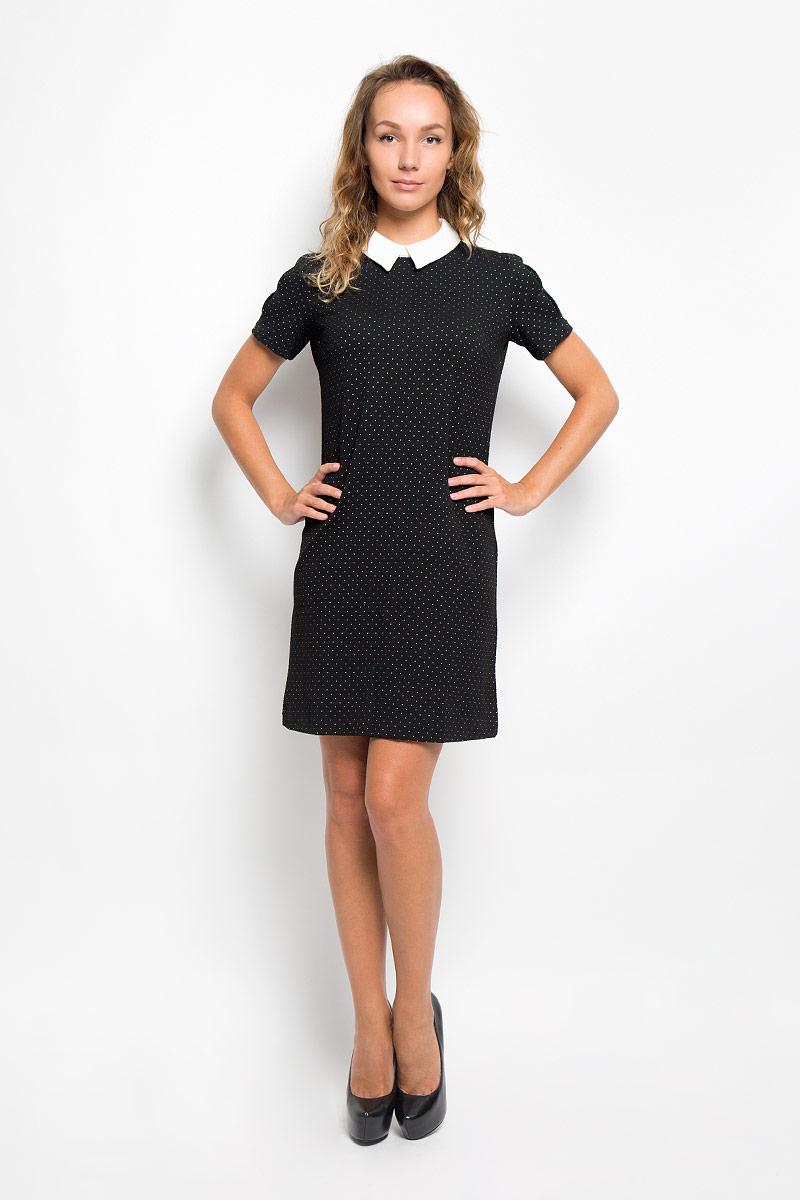 Платье Sela, цвет: черный, белый. Dks-117/1095-6391. Размер L (48)Dks-117/1095-6391Элегантное платье Sela выполнено из высококачественного комбинированного материала. Такое платье обеспечит вам комфорт и удобство при носке и непременно вызовет восхищение у окружающих.Модель средней длины с отложным воротником и короткими рукавами выгодно подчеркнет все достоинства вашей фигуры. Сзади изделие застегивается на потайную застежку-молнию и крючки на уровне горловины. Изысканное платье-миди, оформленное принтом в горох, создаст обворожительный и неповторимый образ.Это модное и комфортное платье станет превосходным дополнением к вашему гардеробу, оно подарит вам удобство и поможет подчеркнуть ваш вкус и неповторимый стиль.