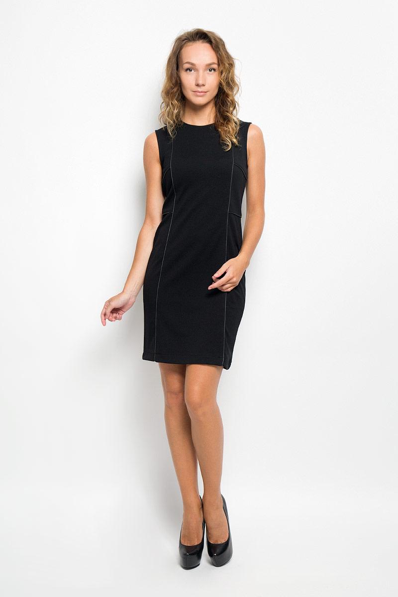 Платье Sela, цвет: черный. Dksl-117/1016-6321. Размер L (48)Dksl-117/1016-6321Элегантное платье Sela выполнено из высококачественного комбинированного материала. Такое платье обеспечит вам комфорт и удобство при носке и непременно вызовет восхищение у окружающих.Модель средней длины с круглым вырезом горловины и без рукавов выгодно подчеркнет все достоинства вашей фигуры. Сзади изделие застегивается на потайную застежку-молнию. Изысканное платье-миди создаст обворожительный и неповторимый образ.Это модное и комфортное платье станет превосходным дополнением к вашему гардеробу, оно подарит вам удобство и поможет подчеркнуть ваш вкус и неповторимый стиль.
