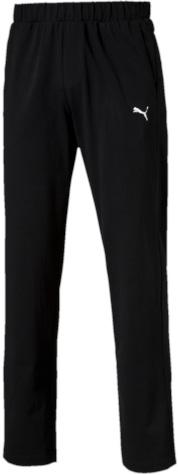 Брюки спортивные мужские Puma ESS Jersey Pants, Op., цвет: черный. 83826701. Размер S (46)838267_01Спортивные брюки Puma выполнены из тонкой хлопковой ткани. Модель прямого кроя декорирована вышитым логотипом Puma. Среди других отличительных особенностей изделия - пояс из его основного материала с продернутым затягивающимся шнуром, карманы в швах, а также нашитая сверху задняя кокетка для лучшей посадки по фигуре.