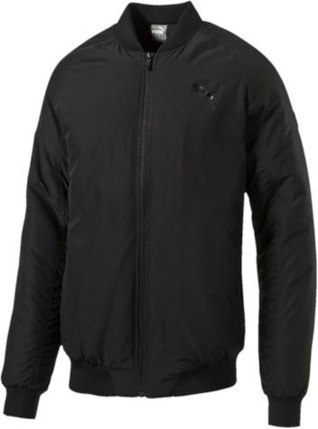 Куртка-бомбер мужская Puma Style Padded, цвет: черный. 83865701. Размер XL (52)838657_01Стильная куртка Style Padded не будет сковывать вас в движениях, вы будете чувствовать себя легко и непринужденно. Модель декорирована логотипом Puma, нанесенным методом глянцевой печати, а также силиконовой эмблемой Puma. Среди других отличительных особенностей модели - прорезные карманы с обтачками, неопреновая отделка манжет и подола, петля для вешалки.