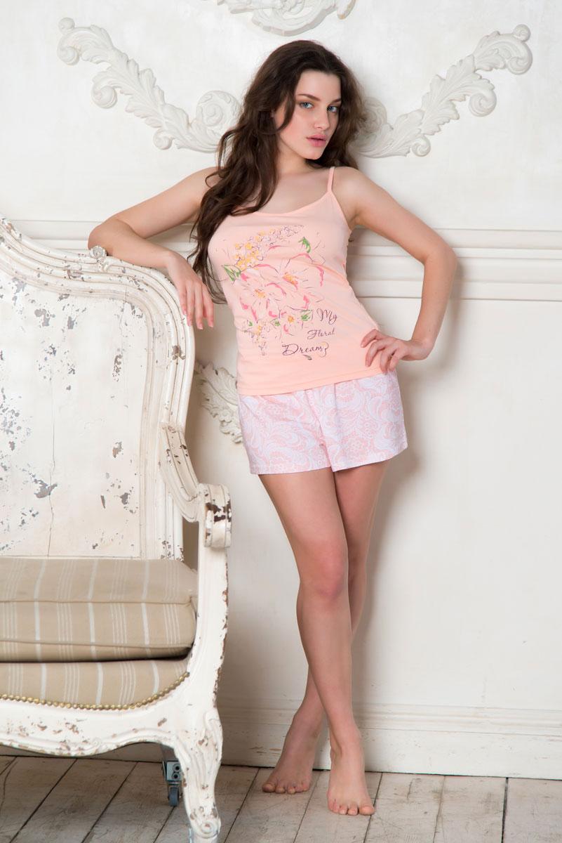 Пижама женская Santi: майка, шорты, цвет: светло-розовый. SS16-PG-04. Размер 42/44SS16-PG-04Женская пижама Santi включает в себя майку и шорты. Пижама изготовлена из натурального хлопка.Майка на узких бретельках, не регулируемых по длине, оформлена крупным цветочным принтом.Свободные шорты с широкой эластичной резинкой в поясе украшены принтом с изображением кружевного узора. Домашняя одежда торговой марки Santi уже давно зарекомендовала себя на российском рынке. Красивая, комфортная одежда для дома, разработанная специально для женщин всех возрастов. Одежда торговой марки Santi производится из высококачественного 100% хлопка, а благодаря тому, что производство располагается на российской фабрике, производители смогли не только удержать, но и снизить уровень цен.