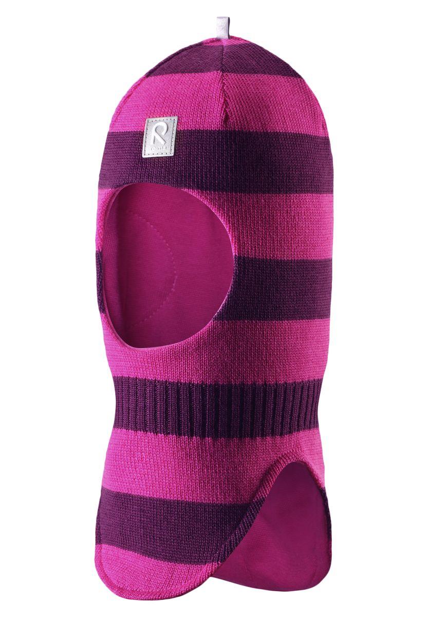 Балаклава детская Reima Starrie, цвет: розовый, фиолетовый. 518315-4620A. Размер 46518315-4620AУютная детская шапка-шлем Reima Starrie идеально подойдет для прогулок в холодное время года. По своей конструкции шлем облегает голову ребенка, надежно защищая ушки, лоб и щечки от продуваний. Вязаная шапочка-шлем, выполненная из 100% шерсти на мягкой подкладке из эластичного хлопка, прекрасно сохраняет тепло и обладает отличной гигроскопичностью (не впитывает влагу, но проводит ее), она мягкая и идеально прилегает к голове. Спереди предусмотрена небольшая светоотражающая нашивка с логотипом бренда, которая не оставит вашего ребенка незамеченным в темное время суток. Оригинальный дизайн и высокое качество делают эту шапку модным и стильным предметом детского гардероба. В ней ваш ребенок будет чувствовать себя уютно и комфортно и всегда будет в центре внимания! Уважаемые клиенты!Размер, доступный для заказа, является обхватом головы.