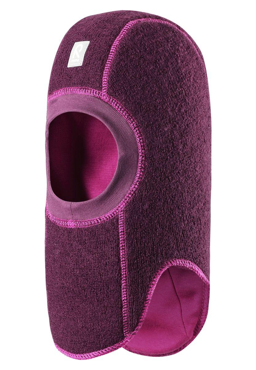 Балаклава детская Reima Repolainen, цвет: фиолетовый. 518358-4900. Размер 50518358-4900Стильная и очень теплая шерстяная шапка-шлем для малышей на мягкой и плотной подкладке из смеси хлопка и эластана. Шерстяная поверхность с начесом ярко смотрится, а эластичный трикотаж облегчает надевание. Ветронепроницаемые вставки в области ушей защищают ушки от холодного ветра, а вязаная резинка вокруг лица плотно прилегает к коже и обеспечивает максимальный комфорт маленьким любителям прогулок на свежем воздухе.