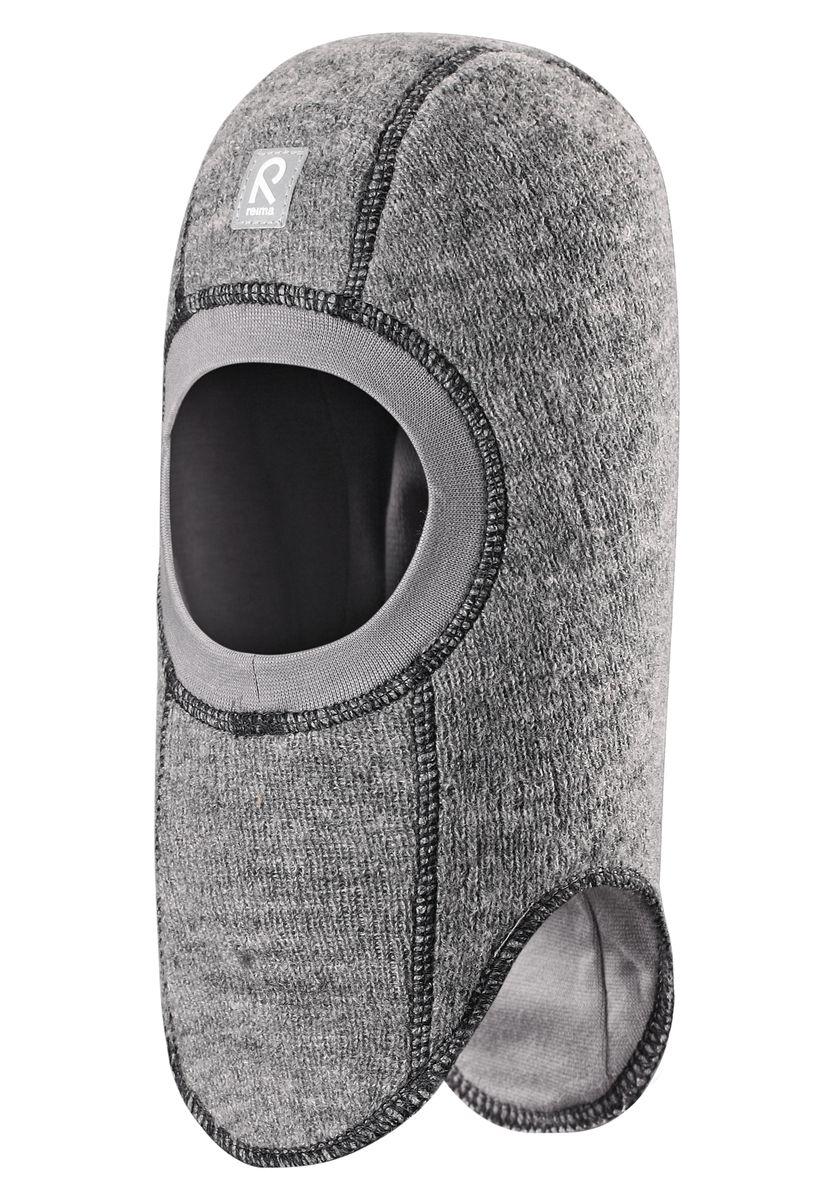 Балаклава детская Reima Repolainen, цвет: серый. 518358-9400. Размер 46518358-9400Стильная и очень теплая шерстяная шапка-шлем для малышей на мягкой и плотной подкладке из смеси хлопка и эластана. Шерстяная поверхность с начесом ярко смотрится, а эластичный трикотаж облегчает надевание. Ветронепроницаемые вставки в области ушей защищают ушки от холодного ветра, а вязаная резинка вокруг лица плотно прилегает к коже и обеспечивает максимальный комфорт маленьким любителям прогулок на свежем воздухе.