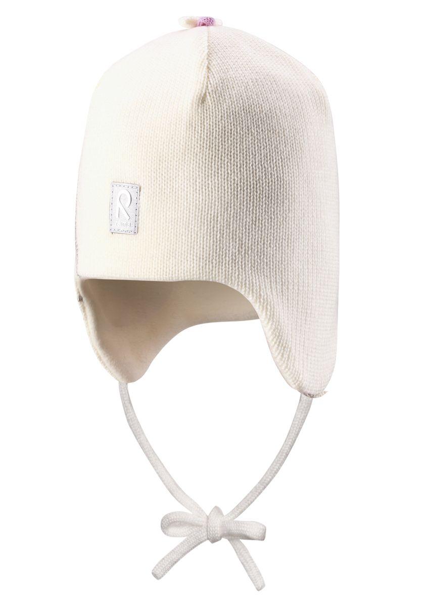 Шапка для девочки Reima Hapsu, цвет: белый. 518359-0110. Размер 46518359-0110Стильная зимняя шерстяная шапочка с большим количеством деталей. Вставки в области ушей придают дополнительную защиту, а подкладка из мягкого флиса подарит коже приятные ощущения.
