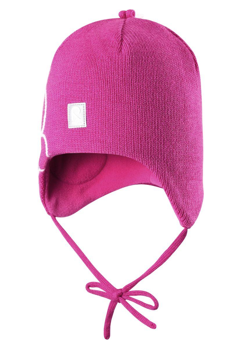 Шапка для девочки Reima Hapsu, цвет: розовый. 518359-4620. Размер 48518359-4620Стильная зимняя шерстяная шапочка с большим количеством деталей. Вставки в области ушей придают дополнительную защиту, а подкладка из мягкого флиса подарит коже приятные ощущения.