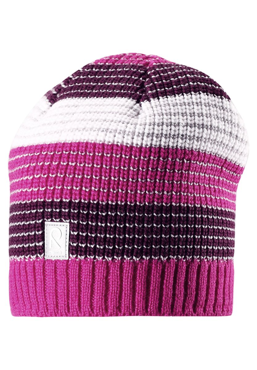 Шапка детская Reima Tuiskutus, цвет: розовый. 528498-4620. Размер 52528498-4620Интересный вязаный структурный узор и стильные цвета сезона поднимут настроение в зимнее утро и во время веселой прогулки! Эта шапка для детей связана из смеси толстой шерсти и имеет подкладку из флиса, которая хорошо пропускает воздух. Великолепный выбор для активных зимних деньков! Модель хорошо прилегает к голове, поэтому ребенок не замерзнет и не вспотеет, а ветронепроницаемые вставки в области ушей обеспечат дополнительную защиту от холодного ветра.