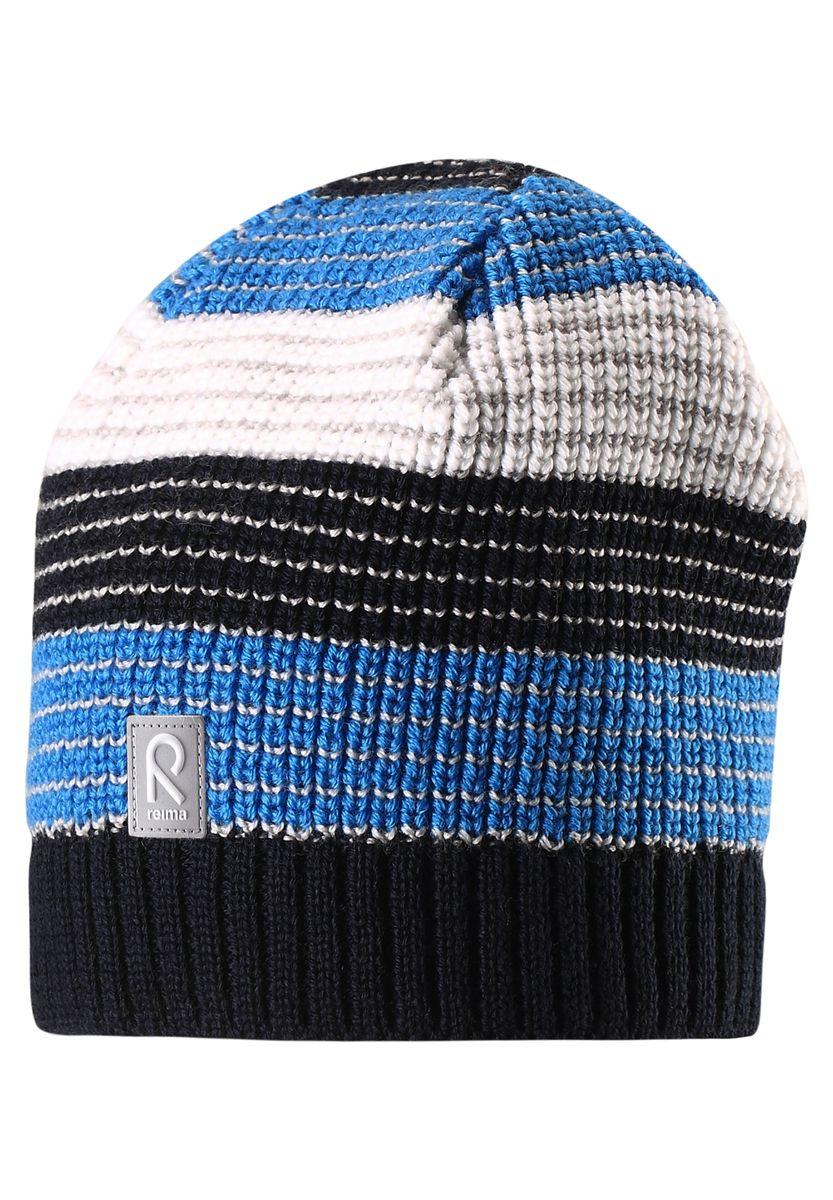 Шапка детская Reima Tuiskutus, цвет: синий. 528498-6980. Размер 52528498-6980Интересный вязаный структурный узор и стильные цвета сезона поднимут настроение в зимнее утро и во время веселой прогулки! Эта шапка для детей связана из смеси толстой шерсти и имеет подкладку из флиса, которая хорошо пропускает воздух. Великолепный выбор для активных зимних деньков! Модель хорошо прилегает к голове, поэтому ребенок не замерзнет и не вспотеет, а ветронепроницаемые вставки в области ушей обеспечат дополнительную защиту от холодного ветра.