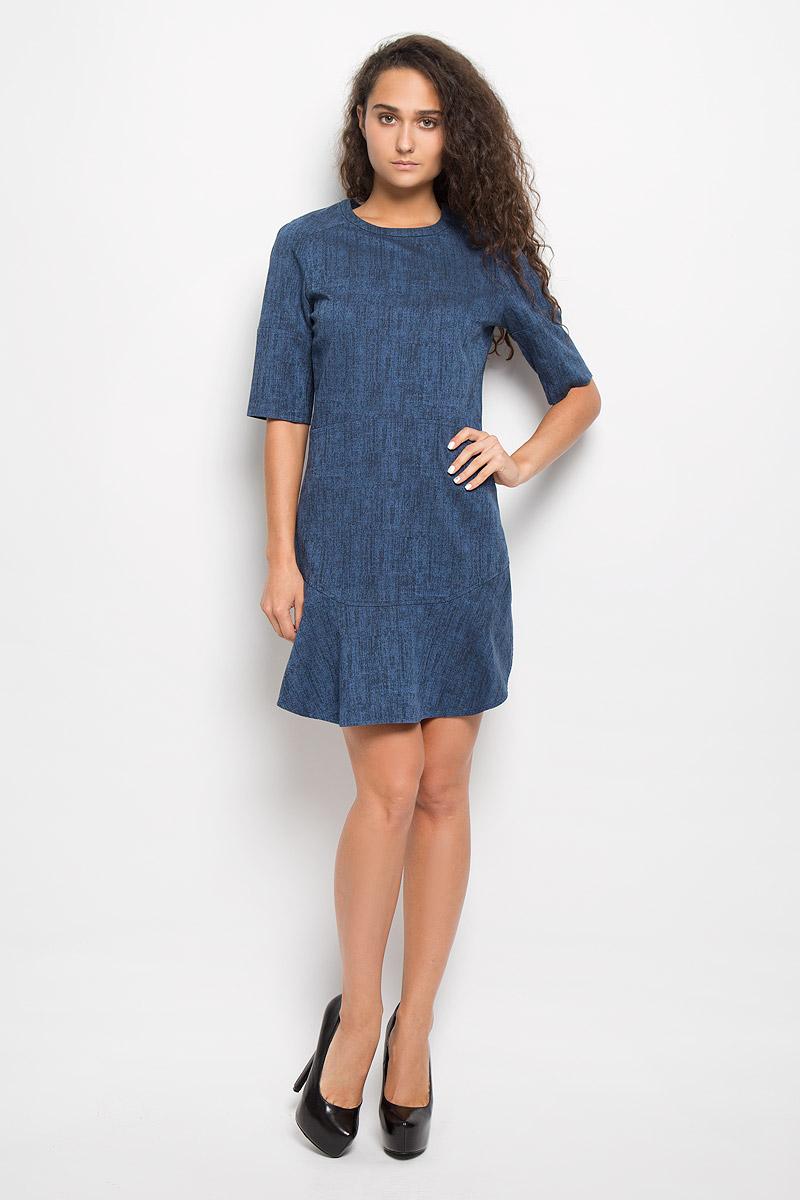 Платье Calvin Klein Jeans, цвет: синий. J20J200375. Размер S (42)AJ6239Платье Calvin Klein Jeans поможет создать стильный образ. Платье изготовлено из эластичного хлопка, тактильно приятное, хорошо пропускает воздух. Платье с круглым вырезом горловины и рукавами-реглан длиной 1/2 застегивается по спинке на молнию. Низ платья дополнен двумя воланами. Украшена модель небольшой металлической пластиной с названием бренда.Стильный дизайн и высокое качество исполнения принесут удовольствие от покупки. Модель подарит вам комфорт в течение всего дня!