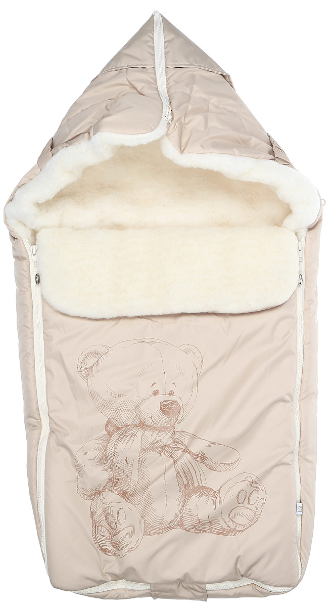 Конверт для новорожденного Сонный Гномик Микка, цвет: бежевый. 987/4. Возраст 0/9 месяцев987/4Зимний конверт для новорожденного Сонный Гномик Микка порадует даже самых требовательных мам и согреет малыша в холодную погоду. Конверт изготовлен из специальной синтетической ткани Dewspo (100% полиэстер), которая защищает от дождя и ветра. Меховая подкладка выполнена из шерсти с добавлением полиэстера. В качестве утеплителя используется шелтер (100% полиэстер).Шелтер (Shelter) - утеплитель, состоящий из микроволокон, удачно сочетает непревзойденное тепло натурального пуха и лучшие качества синтетических материалов. Его уникальность состоит в особенности структуры, повторяющей пух. Ультратонкие волокна делают утеплитель мягким, позволяющим ребенку активно двигаться. Утеплитель шелтер максимально защищает от холода, не стесняя движений, позволяя телу дышать. Конверт легко стирается в домашних условиях, быстро сохнет и сохраняет форму.Конструкция модели снабжена двумя удобными застежками-молниями. Она раскладывается на два отдельных меховых коврика. Верхняя часть конверта может использоваться в качестве капюшона в ветреную или холодную погоду. С помощью застежки-молнии она принимает вид треугольника. А также верхняя часть может надеваться на спинку санок или коляски, благодаря эластичным ремешкам со вставкой. Спереди предусмотрен отворот, фиксирующийся с помощью декоративных стопперов. Оформлено изделие принтом с изображением медвежонка. Конверт заменит лишние теплые кофточки и штанишки, и, значит, свободу малыша ничто не будет ограничивать. Теплый, комфортный, удобный и практичный конверт идеально подойдет для прогулок на свежем воздухе!