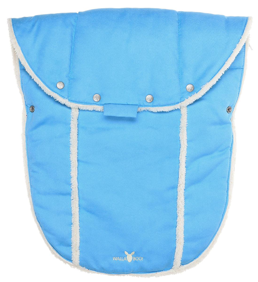 Конверт-муфта для новорожденного Wallaboo, цвет: голубой. WNN.0306.206. Размер 0 месяцевWNN.0306.206Многофункциональный и теплый меховой конверт-муфта для новорожденного Wallaboo отлично подойдет для долгих прогулок. Конверт изготовлен из микроволокнистой замши, необычайно мягкой и тактильно приятной. Теплая меховая подкладка выполнена из полиэстера. В качестве наполнителя используется синтепон (100% полиэстер).Конструкция модели снабжена двумя удобными застежками-молниями. Она раскладывается на два отдельных меховых коврика. Верхняя часть конверта дополнена застежками-кнопками, образующими капюшон. Когда ребенок подрастет, можно использовать конверт в санках, отстегнув переднюю часть конверта. В конверте имеются отверстия под ремни безопасности коляски или автомобильного кресла. Спереди предусмотрен отворот, фиксирующийся с помощью кнопок. Изделие украшено вышитыми логотипами бренда.В таком конверте малышу будет тепло, удобно и комфортно!