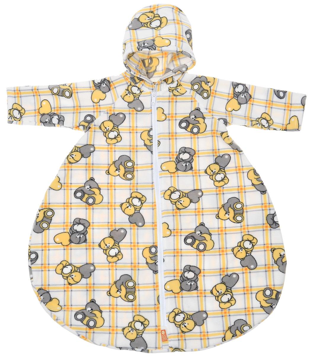 Конверт для новорожденного Чудо-Чадо БыстрОдежка Колокольчик, цвет: белый, желтый, серый. КРК04-001. Размер 74КРК04-001Детский конверт Чудо-Чадо БыстрОдежка Колокольчик станет отличным дополнением к гардеробу ребенка. Выполненный из мягкого флиса - 100% полиэстера, он очень приятный на ощупь, не вызывает аллергию, быстро сохнет, не растягивается и не садится, выдерживает многократные стирки, не теряя мягкости и насыщенности цветов. Модель с капюшоном и рукавами-реглан спереди застегивается на пластиковую молнию и дополнительно снабжена внутренней планкой. Застежка-молния до самого низа делает процесс переодевания очень простым и быстрым. Изделие не сковывает свободу маленьких ножек и дает возможность малышу активно работать ручками - а это очень важно для развития. Оформлена модель принтом в клетку и изображением медвежат. Конверт подойдет при выписке из роддома в теплое время года, а также может использоваться на прогулке, как самостоятельный конверт или дополнительный утепляющий слой к зимнему конверту, как спальный конвертик. В таком конверте ребенку будет тепло, уютно и комфортно!