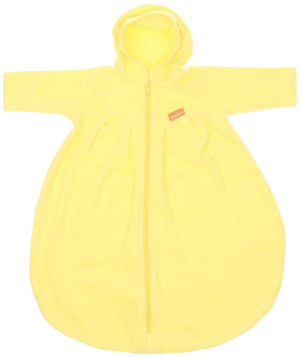 Конверт для новорожденного Чудо-Чадо БыстрОдежка Неваляшка, цвет: желтый. КРХ04-000. Размер 74КРХ04-000Детский конверт Чудо-Чадо БыстрОдежка Неваляшка станет отличным дополнением к гардеробу ребенка. Выполненный из мягкого хлопка, он очень приятный на ощупь, хорошо сохраняет тепло, впитывает лишнюю влагу, не вызывает аллергию и не раздражает кожу с повышенной чувствительностью. Свободная модель с капюшоном и длинными рукавами спереди застегивается на молнию и дополнительно снабжена внутренней планкой. Застежка-молния до самого низа делает процесс переодевания очень простым и быстрым. Изделие не сковывает свободу маленьких ножек и дает возможность малышу активно работать ручками - а это очень важно для развития. Модель имеет кокетку с милыми складочками. Конверт подойдет при выписке из роддома в теплое время года, а также может использоваться на прогулке, как самостоятельный конверт или дополнительный утепляющий слой к зимнему конверту, как спальный конвертик. В таком конверте ребенку будет тепло, уютно и комфортно!