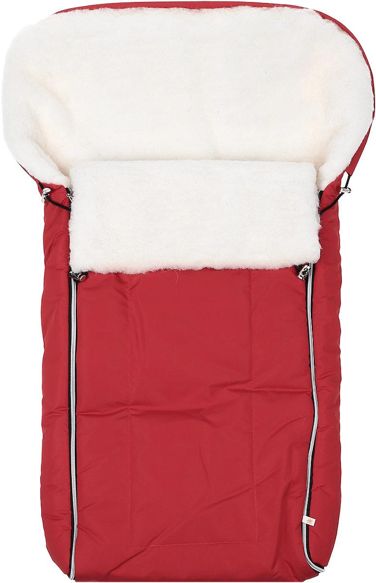 Конверт для новорожденного Сонный Гномик Норд, цвет: красный. 983/20. Возраст 0/9 месяцев983/20Многофункциональный и теплый меховой конверт для новорожденного Сонный Гномик Норд отлично подойдет для долгих зимних прогулок. Конверт изготовлен из специальной синтетической ткани Dewspo (100% полиэстер), которая защищает от дождя и ветра. Меховая подкладка выполнена из шерсти с добавлением полиэстера. В качестве утеплителя используется шелтер (100% полиэстер).Шелтер (Shelter) - утеплитель, состоящий из микроволокон, удачно сочетает непревзойденное тепло натурального пуха и лучшие качества синтетических материалов. Его уникальность состоит в особенности структуры, повторяющей пух. Ультратонкие волокна делают утеплитель мягким, позволяющим ребенку активно двигаться. Утеплитель шелтер максимально защищает от холода, не стесняя движений, позволяя телу дышать. Конверт легко стирается в домашних условиях, быстро сохнет и сохраняет форму.Конструкция модели снабжена двумя удобными застежками-молниями. Она раскладывается на два отдельных меховых коврика. Верхняя часть конверта дополнена по краю затягивающимся шнурком со стопперами и может использоваться в качестве капюшона в ветреную или холодную погоду. Когда ребенок подрастет, можно использовать конверт в санках, воспользовавшись специальным клапаном на пуговицах для крепления к спинке санок и отстегнув переднюю часть конверта. В конверте предусмотрено 5 мест под ремни безопасности коляски или автомобильного кресла - при возникновении необходимости можно легко прорезать отверстия самостоятельно, ориентируясь на особенности коляски или кресла. Спереди предусмотрен отворот, фиксирующийся с помощью декоративных стопперов. Увеличенная длина конверта позволит использовать конверт несколько сезонов.Ваш малыш всегда будет защищен от любых погодных капризов!