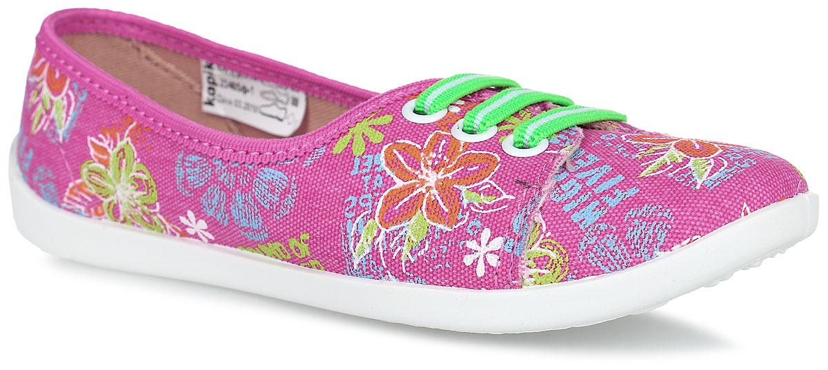 Кеды для девочки Kapika, цвет: розовый, мультиколор. 23405. Размер 3423405ф-1Кеды от Kapika изготовлены из качественного текстиля и оформлены оригинальным цветочным принтом. Модель дополнена эластичными резинками на передней части для удобства надевания обуви. Подкладка выполнена из мягкого текстиля. Стелька из натуральной кожи дополнена супинатором с перфорацией, который обеспечивает правильное положение ноги ребенка при ходьбе и предотвращает плоскостопие. Подошва выполнена из легкого и гибкого полимерного материала, а ее рифление гарантирует отличное сцепление с любой поверхностью.