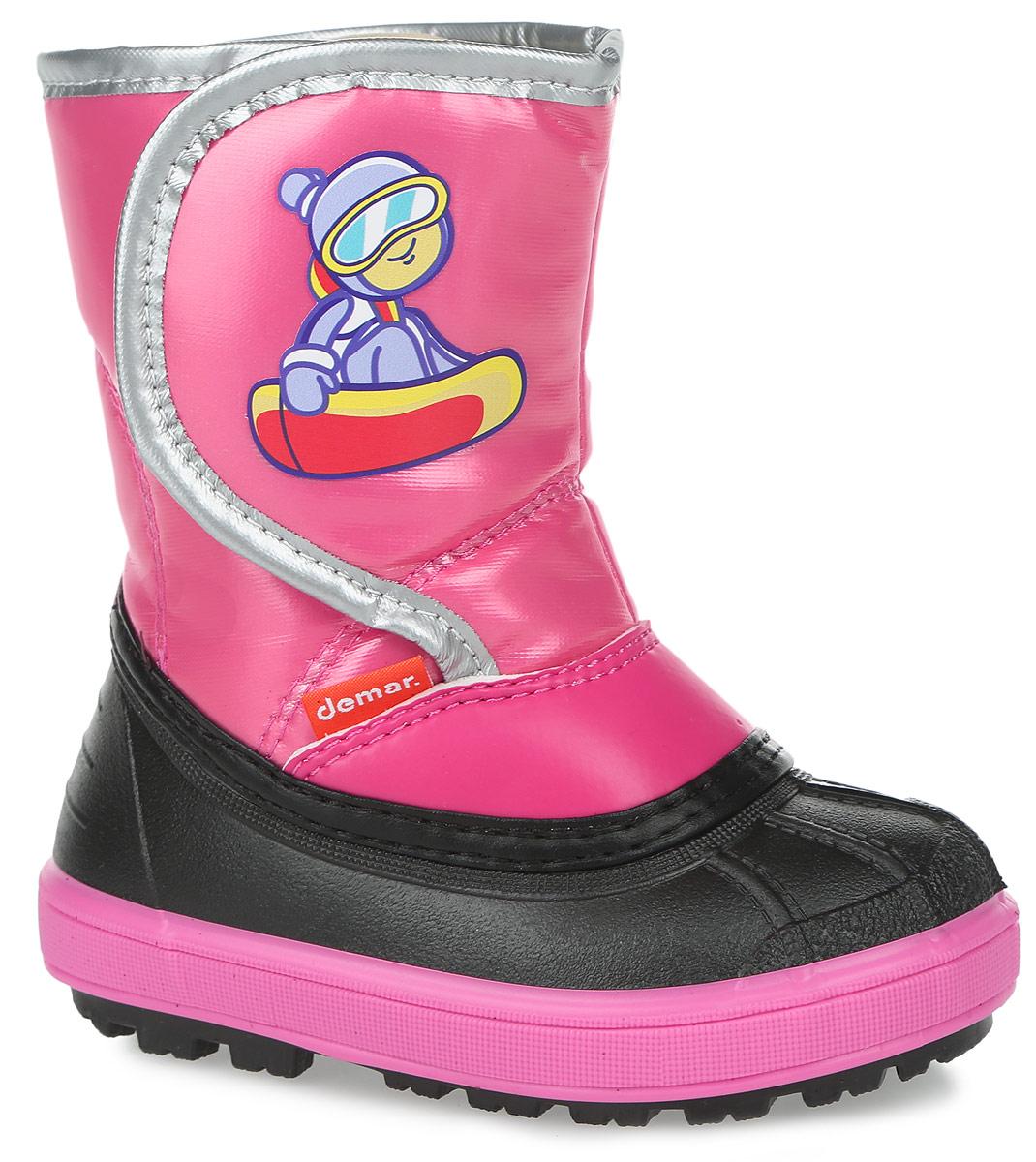Дутики детские Demar, цвет: розовый. 1505. Размер 22/231505Стильные дутики Snowboarder от Demar придутся по вкусу вашему ребенку. Модель выполнена из текстиля и ПВХ. Модель регулируется по обхвату голенища при помощи хлястика на липучке, оформленного оригинальной наклейкой. Главным преимуществом является наличие съемного носка из натуральной шерсти, который можно вынуть и легко просушить. Подошва с рельефным протектором обеспечит отличное сцепление с любыми поверхностями. Удобные дутики - необходимая вещь в гардеробе вашего ребенка.