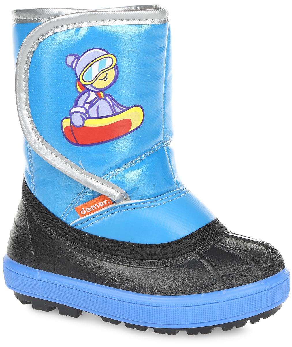 Дутики детские Demar, цвет: синий. 1505. Размер 26/271505Стильные дутики Snowboarder от Demar придутся по вкусу вашему ребенку. Модель выполнена из текстиля и ПВХ. Модель регулируется по обхвату голенища при помощи хлястика на липучке, оформленного оригинальной наклейкой. Главным преимуществом является наличие съемного носка из натуральной шерсти, который можно вынуть и легко просушить. Подошва с рельефным протектором обеспечит отличное сцепление с любыми поверхностями. Удобные дутики - необходимая вещь в гардеробе вашего ребенка.