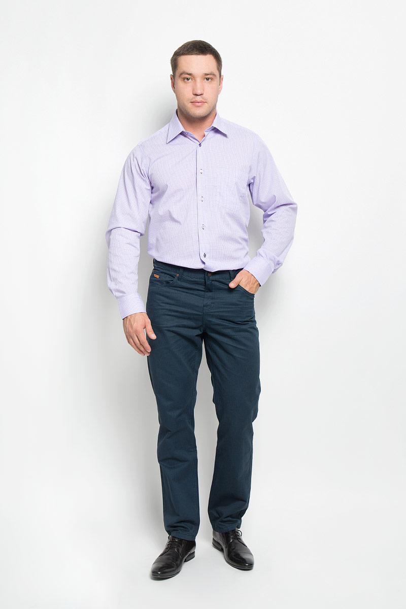 Рубашка мужская BTC, цвет: светло-сиреневый. 12.014859. Размер 56-18212.014859Мужская рубашка BTC выполнена из хлопка с добавлением полиэстера. Материал изделия мягкий, тактильно приятный, не стесняет движений и хорошо пропускает воздух, обеспечивая комфорт при носке. Рубашка прямого кроя с отложным воротником и длинными рукавами застегивается спереди на пуговицы. На манжетах также предусмотрены застежки-пуговицы. На груди расположен накладной карман. Оформлено изделие принтом в клетку.Эта рубашка займет достойное место в вашем гардеробе!