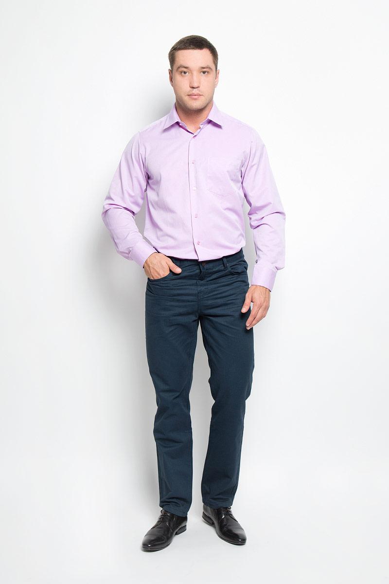 Рубашка мужская BTC, цвет: сиреневый. 12.014878. Размер 48-18212.014878Мужская рубашка BTC, выполненная из высококачественного материала, станет замечательным дополнением к вашему гардеробу. Изделие мягкое, тактильно приятное, не сковывает движений и хорошо пропускает воздух, обеспечивая комфорт при носке.Модель прямого кроя с отложным воротником и длинными рукавами застегивается спереди на пуговицы по всей длине. Манжеты дополнены застежками-пуговицами. На груди расположен накладной карман. Такая рубашка подчеркнет ваш вкус и поможет создать стильный образ!
