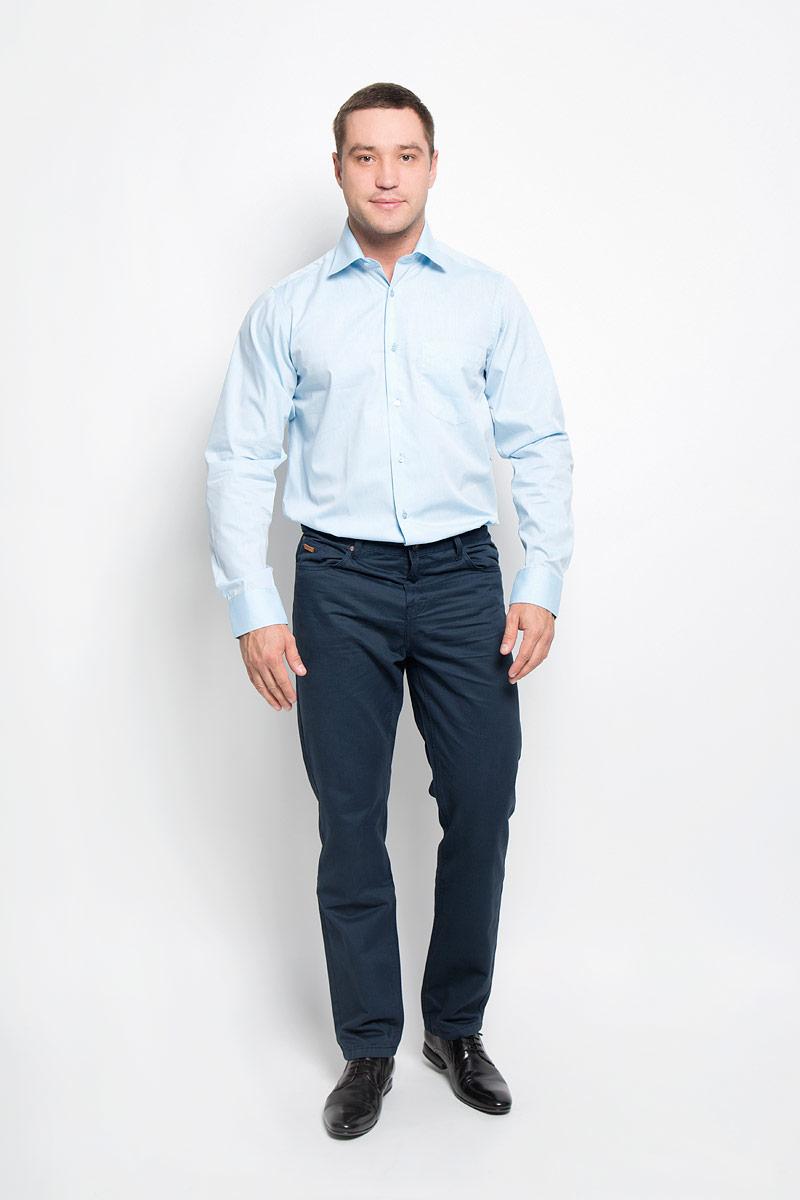 Рубашка мужская BTC, цвет: голубой. 12.016274. Размер 56-17612.016274Мужская рубашка BTC выполнена из хлопка с добавлением полиэстера. Ткань изделия мягкая и приятная на ощупь, не сковывает движения и хорошо пропускает воздух. Рубашка с отложным воротником и длинными рукавами застегивается спереди на пуговицы по всей длине. Модель имеет прямой силуэт. На манжетах предусмотрены застежки-пуговицы.Высокое качество кроя и пошива, дизайн и расцветка придают изделию неповторимый стиль и индивидуальность. Рубашка займет достойное место в вашем гардеробе!
