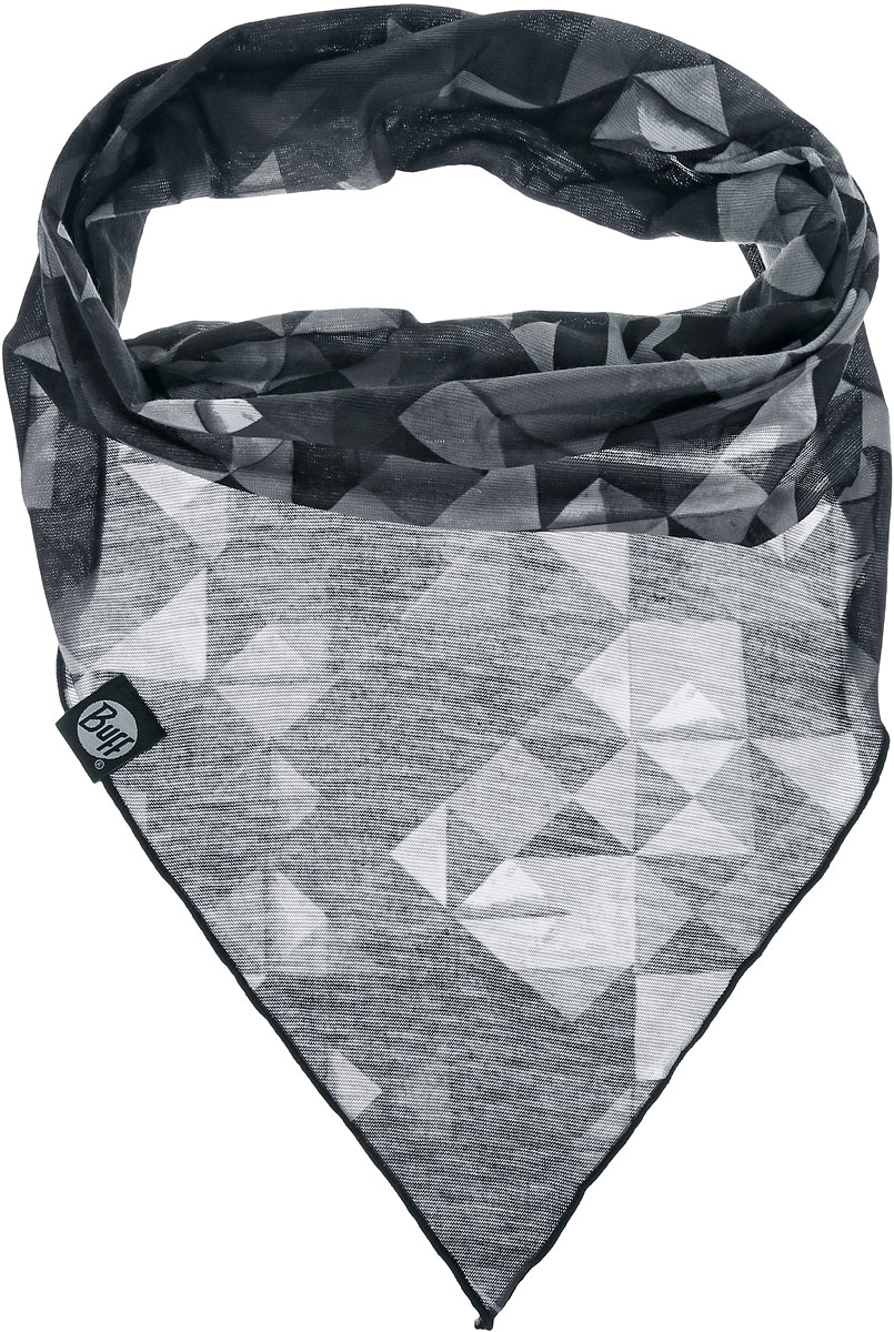 Бандана Buff Freestyle Cool Bandana Kidron, цвет: черный, серый. 108614.00. Размер универсальный108614.00Многофункциональная бандана-трансформер из серии Cool Bandana изготовлена из тончайшего полиэстера в виде трубы. Такой материал хорошо отводит влагу, очень мягкий и приятный для тела. Но в отличие от серии бандан Original Buff, данная модель имеет треугольный край - это удобно, если вы носите бандану в качестве шарфа или маски на лицо. Такую бандану вы можете легко одеть на лицо или превратить в шапку-бандану, маску, повязку на голову или надеть бандану на шею. При надевании банданы на голову ее не нужно завязывать.Бандана оформлена абстрактным рисунком и дополнена логотипом бренда.Часто головной убор из серии Cool Bandana Buff используется как лыжная бандана, закрывающая шею и уши. Данный тип спортивных бандан является самым универсальным и может использоваться в любое время года.