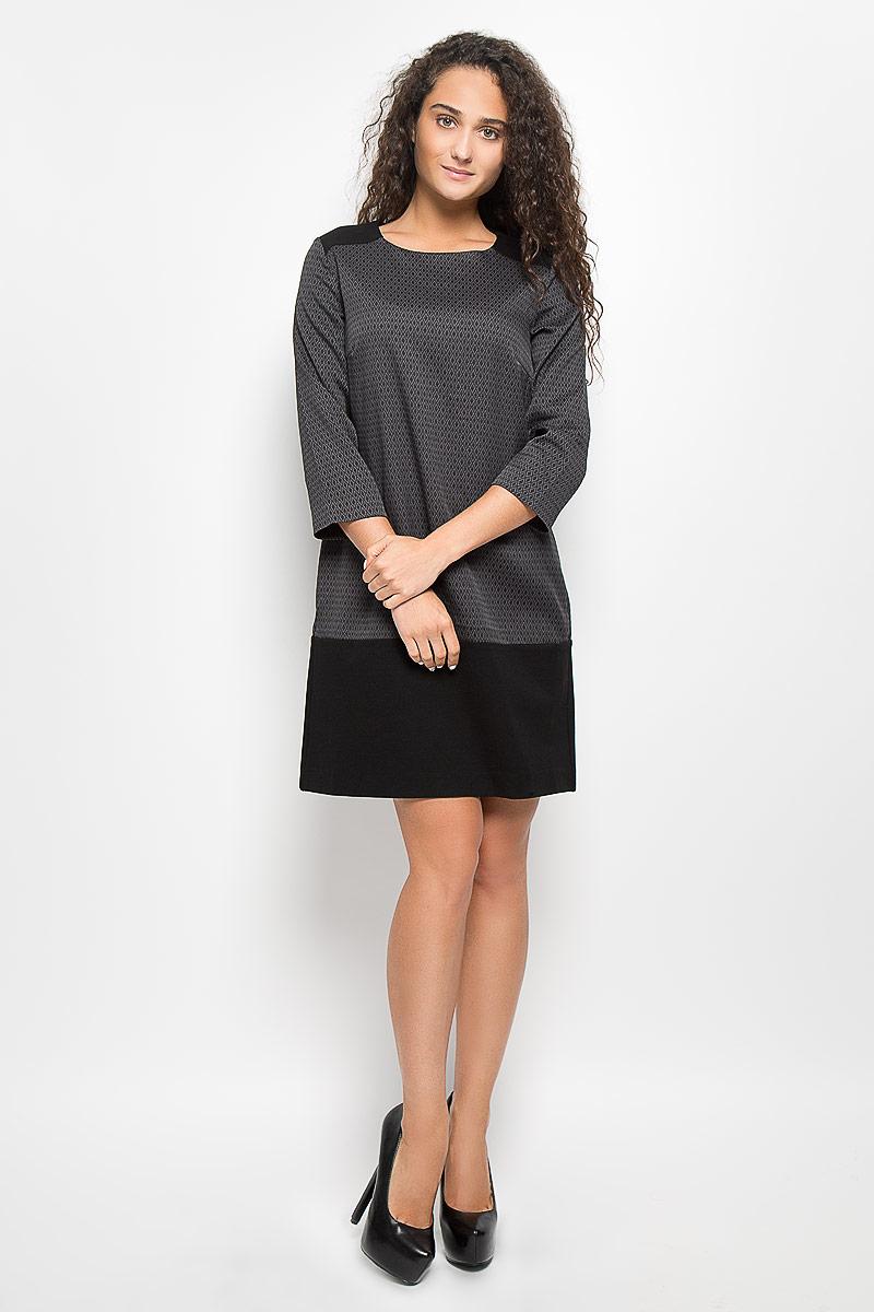 Платье Baon, цвет: черный, темно-серый. B450. Размер L (48)B450_Black-Asphalt JacquardСтильное платье Baon поможет создать отличный современный образ. Модель изготовлена из вискозы и полиэстера с добавлением полиамида и эластана. Платье-миди свободного кроя с круглым вырезом горловины и рукавами 3/4 оформлено принтом в виде ромбов. Застегивается модель на застежку-молнию, которая расположена на спинке.Такое платье станет стильным дополнением к вашему гардеробу, оно подарит вам комфорт в течение всего дня!