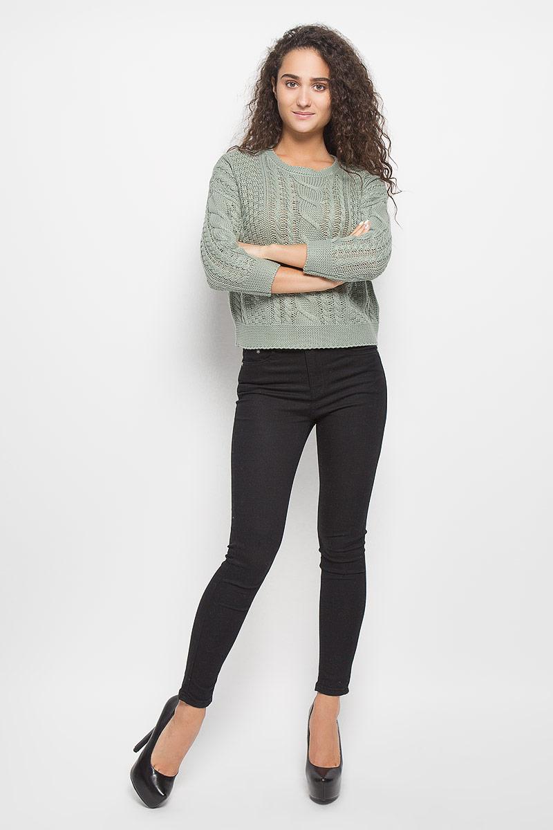 Джемпер женский Baon, цвет: зеленый. B136576. Размер L (48)B136576_Rime GrassМодный женский джемпер Baon, изготовленный из акрила и хлопка, мягкий и приятный на ощупь, не сковывает движений и обеспечивает комфорт.Модель с круглым вырезом горловины и длинными рукавами-кимоно великолепно подойдет для создания современного образа в стиле Casual. Изделие оформлено оригинальным узором.Этот джемпер послужит отличным дополнением к вашему гардеробу. В нем вы всегда будете чувствовать себя уютно и комфортно в прохладную погоду.