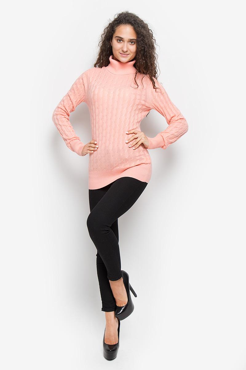 Водолазка женская Baon, цвет: розовый. B136707. Размер L (48)B136707_Dawn PinkОригинальная женская водолазка Baon, изготовленная из высококачественной пряжи, мягкая и приятная на ощупь, не сковывает движений и обеспечивает наибольший комфорт.Слегка удлиненная модель с воротником-гольф и длинными рукавами великолепно подойдет для создания образа в стиле Casual. Водолазка связана косичкой, низ изделия, манжеты и воротник связаны резинкой.Эта водолазка послужит отличным дополнением к вашему гардеробу. В ней вы всегда будете чувствовать себя уютно и комфортно в прохладную погоду.