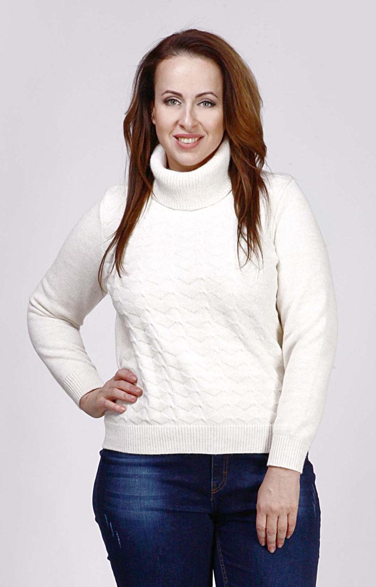 Свитер женский Milana Style, цвет: молочный. w193. Размер M (46)w193Модный женский свитер Milana Style, изготовленный из шерсти и ПАН-волокна, мягкий и приятный на ощупь, не сковывает движений и обеспечивает комфорт. Модель с воротником-гольф и длинными рукавами оформлена оригинальным вязаным узором. Воротник, манжеты рукавов и низ свитера связаны резинкой.
