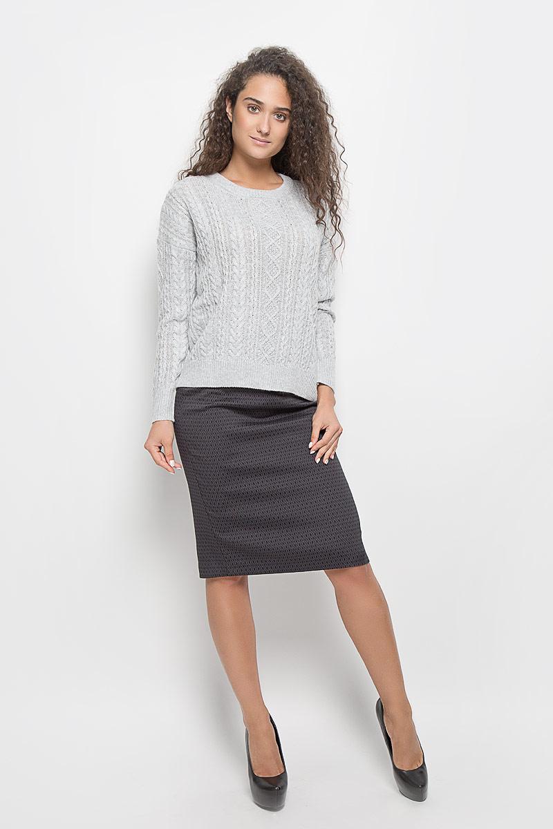 Юбка Baon, цвет: черный, серый. B476528. Размер L (48)B476528_Black-Asphalt JacquardЭффектная юбка Baon выполнена из эластичного полиэстера с добавлением вискозы, она обеспечит вам комфорт и удобство при носке.Элегантная юбка-карандаш средней длины застегивается на застежку-молнию сзади. Модель оформлена узором в виде ромбов.Модная юбка-карандаш выгодно освежит и разнообразит ваш гардероб. Создайте женственный образ и подчеркните свою яркую индивидуальность! Классический фасон и оригинальное оформление этой юбки сделают ваш образ непревзойденным.
