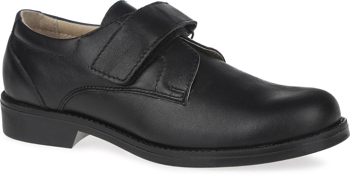 Туфли для мальчика Зебра, цвет: черный. 10778-1. Размер 37,510778-1Стильные туфли от фирмы Зебра отлично подойдут для школы! Модель изготовлена из натуральной кожи и оформлена прострочкой. Ремешок на застежке-липучке надежно зафиксирует модель на ноге. Подкладка, выполненная из натуральной кожи, создает комфорт при носке. Стелька из натуральной кожи дополнена супинатором с перфорацией, который обеспечивает правильное положение ноги ребенка при ходьбе, предотвращает плоскостопие. Рифленая поверхность подошвы защищает изделие от скольжения.Удобные туфли - незаменимая вещь в гардеробе каждого ребенка.