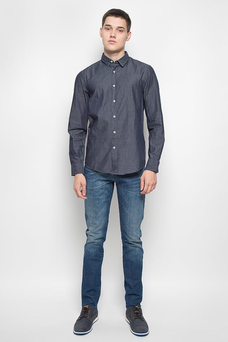 Рубашка мужская Mexx, цвет: темно-синий. MX3000741. Размер S (48)MX3000741Стильная мужская рубашка Mexx приталенного кроя, изготовленная из натурального хлопка, необычайно мягкая и приятная на ощупь, не сковывает движения и позволяет коже дышать. Застегивается на пуговицы по всей длине. Эта рубашка идеальный вариант, как для повседневного, так и для вечернего гардероба. Такая модель порадует настоящих ценителей комфорта и практичности.